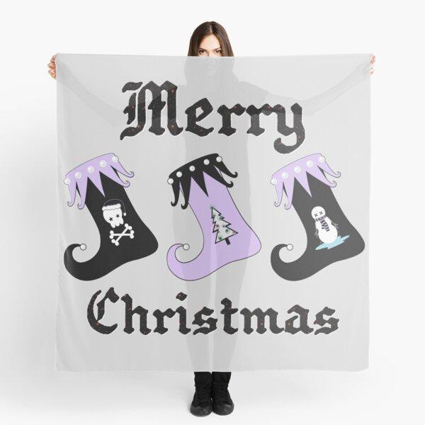Merry Christmas Pastel Goth Elf Stockings Scarf