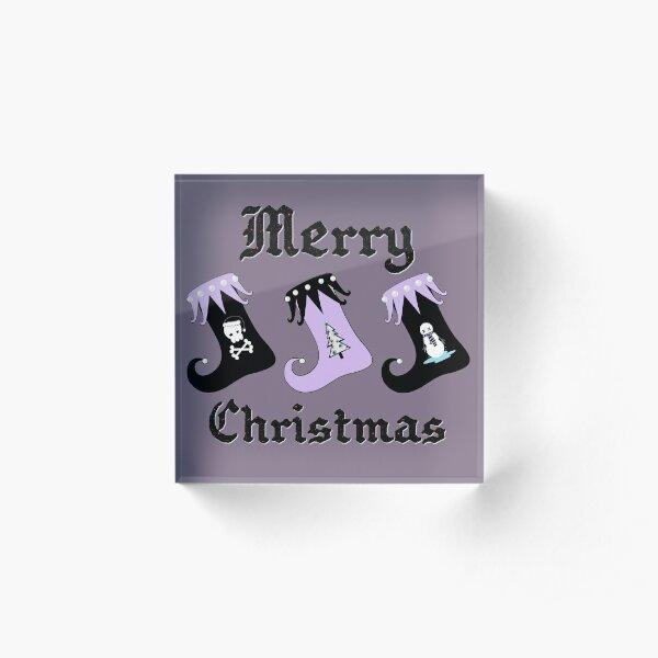 Merry Christmas Pastel Goth Elf Stockings Acrylic Block