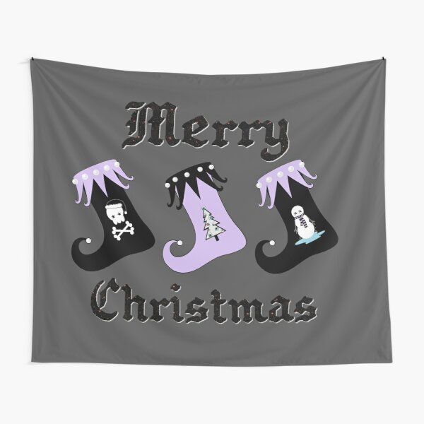 Merry Christmas Pastel Goth Elf Stockings Tapestry