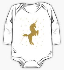 Unicorn Gold for Kids and Womens  T-shirt Birthday party  One Piece - Long Sleeve
