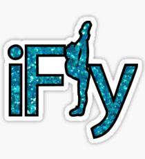 I FLY BLUE GLITTER Sticker
