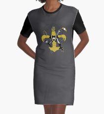 New Orleans Schwarz und Gold Louisiana Panzerkrebse Fleur de Lis T-Shirt Kleid