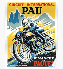 1950 Pau French Grand Prix Motorcycle Race Poster Poster