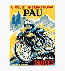 1950 Pau French Grand Prix Motorcycle Race Poster Photographic Print