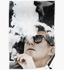 John F Kennedy Cigar And Sunglasses Poster
