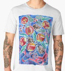 Watercolor Christmas Winter Apples Berries Fir Leaves Pinecones Men's Premium T-Shirt