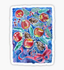 Watercolor Christmas Winter Apples Berries Fir Leaves Pinecones Sticker