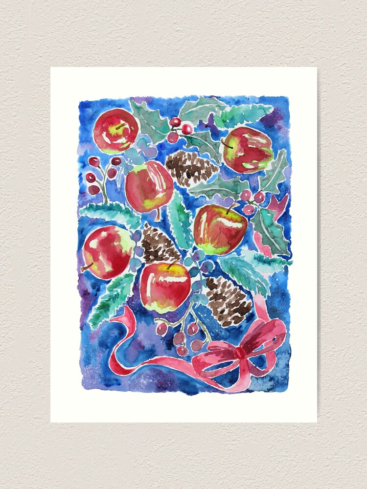 Alternate view of Watercolor Christmas Winter Apples Berries Fir Leaves Pinecones Art Print
