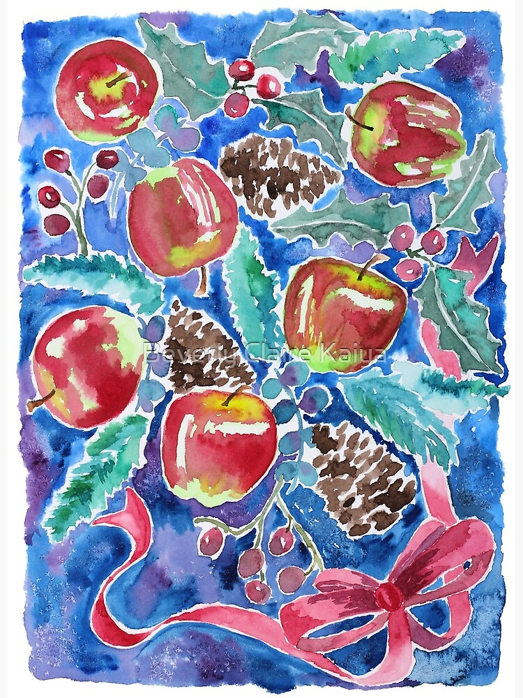 Watercolor Christmas Winter Apples Berries Fir Leaves Pinecones by beverlyclaire