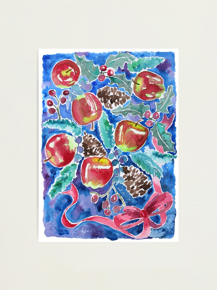 Alternate view of Watercolor Christmas Winter Apples Berries Fir Leaves Pinecones Photographic Print