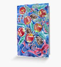 Watercolor Christmas Winter Apples Berries Fir Leaves Pinecones Greeting Card
