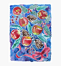 Watercolor Christmas Winter Apples Berries Fir Leaves Pinecones Photographic Print
