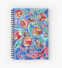 Watercolor Christmas Winter Apples Berries Fir Leaves Pinecones Spiral Notebook