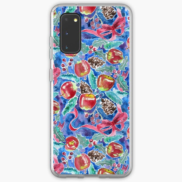 Watercolor Christmas Winter Apples Berries Fir Leaves Pinecones Samsung Galaxy Soft Case
