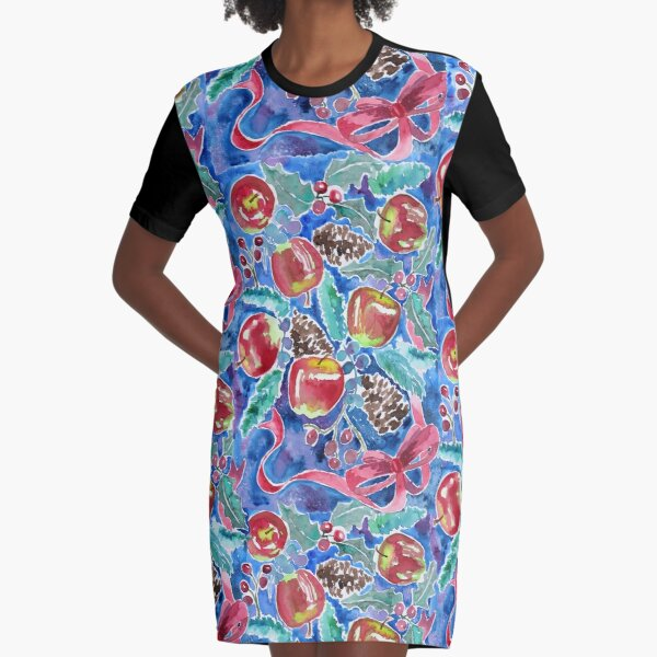 Watercolor Christmas Winter Apples Berries Fir Leaves Pinecones Graphic T-Shirt Dress