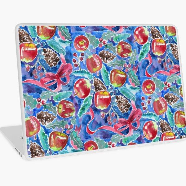 Watercolor Christmas Winter Apples Berries Fir Leaves Pinecones Laptop Skin