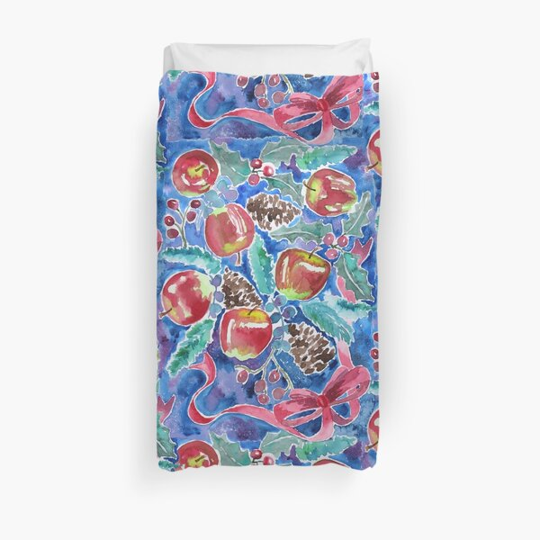 Watercolor Christmas Winter Apples Berries Fir Leaves Pinecones Duvet Cover