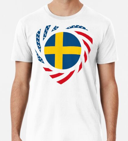 Swedish American Multinational Patriot Flag Series 2.0 Premium T-Shirt