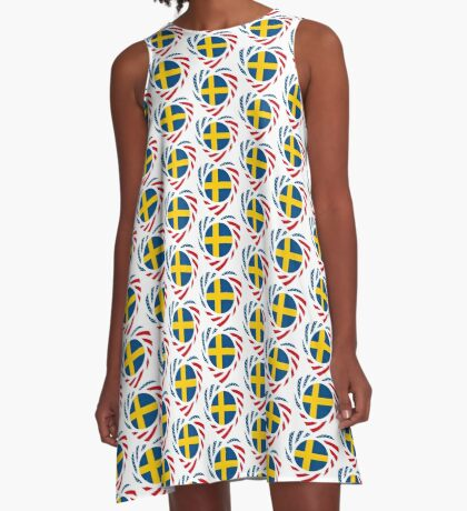 Swedish American Multinational Patriot Flag Series 2.0 A-Line Dress