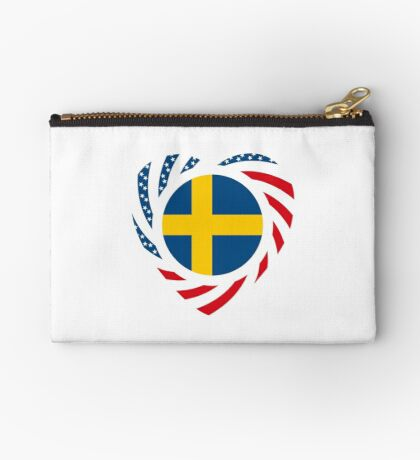 Swedish American Multinational Patriot Flag Series 2.0 Zipper Pouch