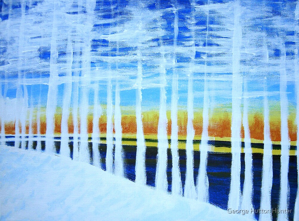 White Trees by the Lake by George Hunter