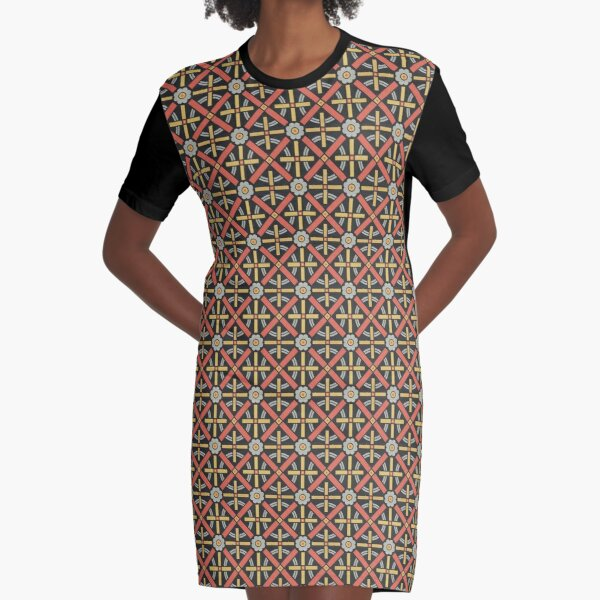 Bold geometric retro pattern designed by Christopher Dresser – State Library Victoria Graphic T-Shirt Dress