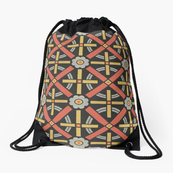 Bold geometric retro pattern designed by Christopher Dresser – State Library Victoria Drawstring Bag