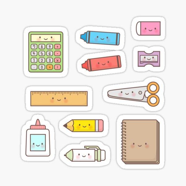 Kawaii Back to School Supplies Doodle Pattern Sticker
