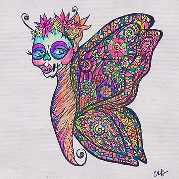 Butterfly Wearing Sugar Skull Mask Psychedelic Trippy Zentangle Doodle  by vivacandita