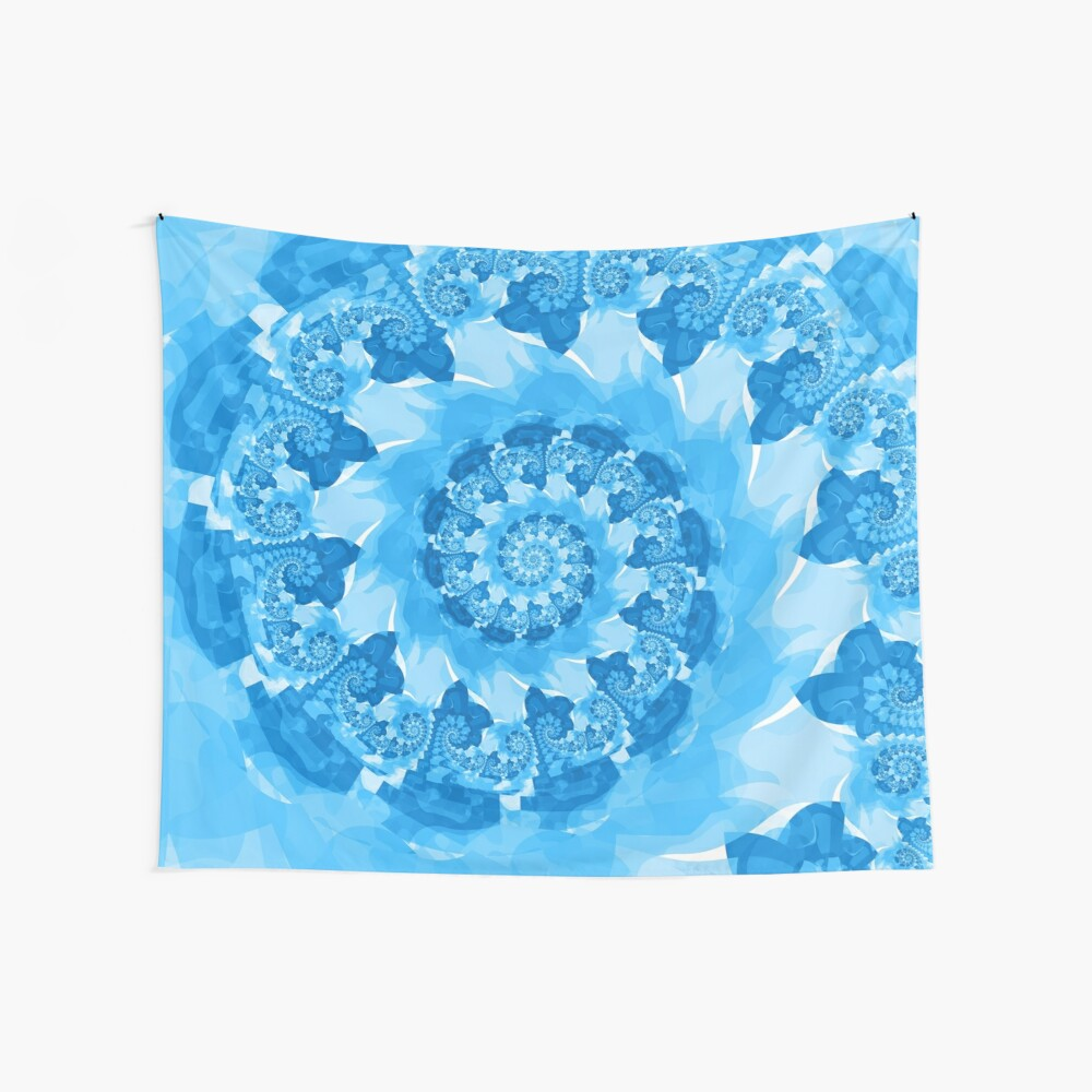 Endless Ocean Blue Spiral Wave Wall Tapestry