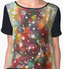Christmas Tree with Colourful Decorations on a Snowing Background Chiffon Top