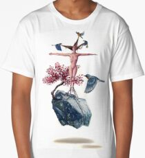 """""""Weighted"""" Original Oil Painting Floating Boulder, Cherry Blossom, Woman and Blue Birds Long T-Shirt"""