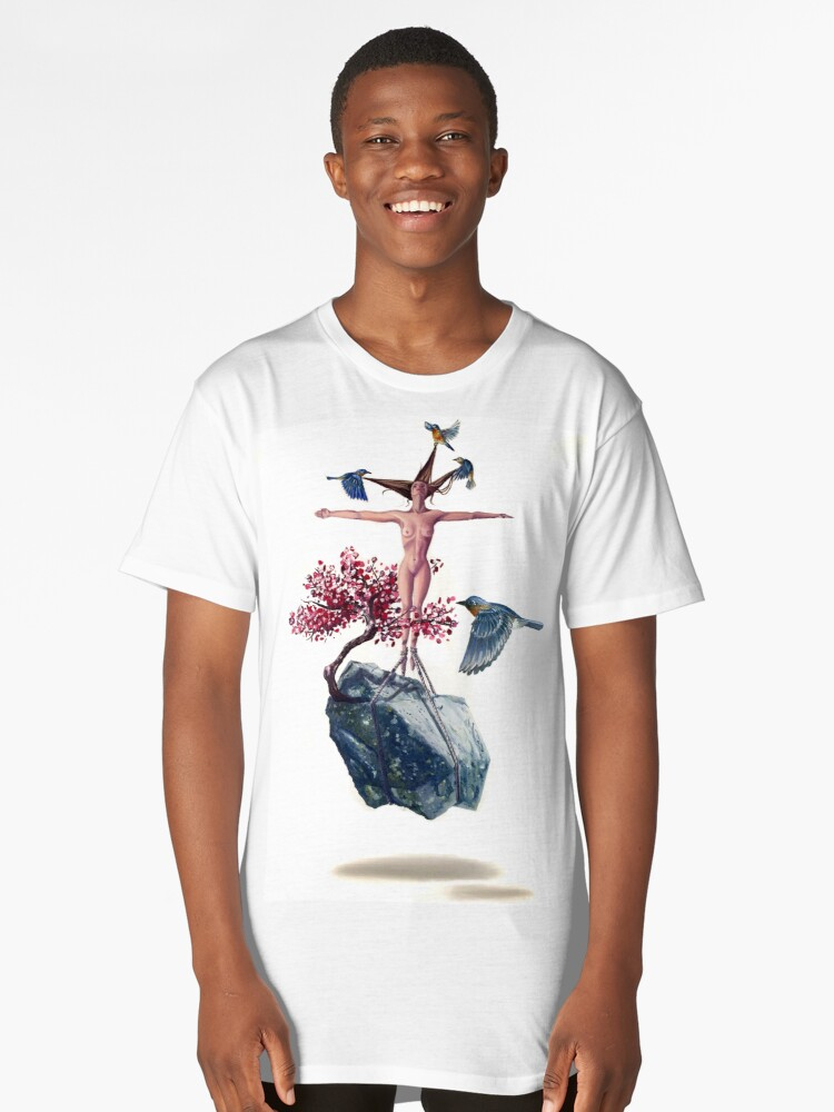 """""""Weighted"""" Original Oil Painting Floating Boulder, Cherry Blossom, Woman and Blue Birds Long T-Shirt Front"""