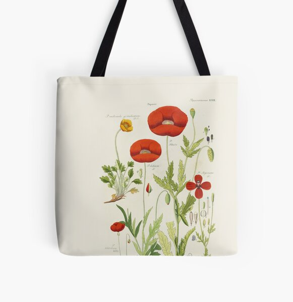 Botanical illustration: Poppy by David Dietrich – State Library Victoria All Over Print Tote Bag