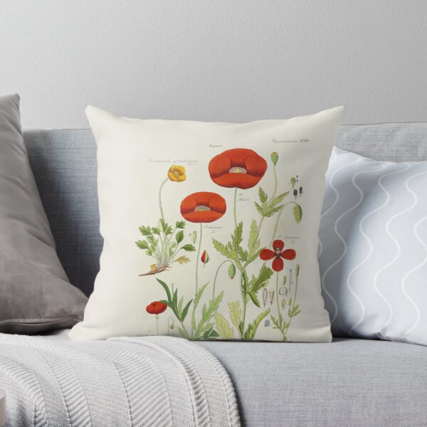 Botanical illustration: Poppy by David Dietrich – State Library Victoria Throw Pillow