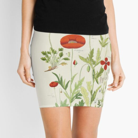 Botanical illustration: Poppy by David Dietrich – State Library Victoria Mini Skirt