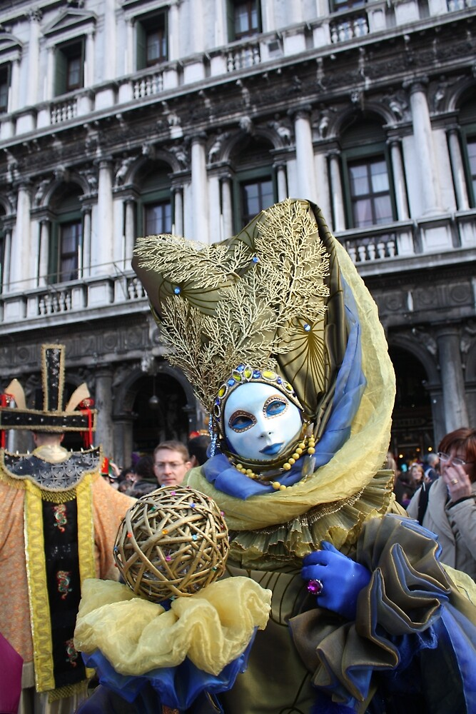 Venice Carnivale-Goer in Blue and Gold by Pam Blackstone