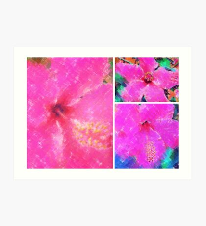 Collage with Pink Hibiscus Art Print