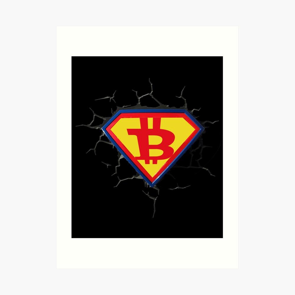 Weinlese-Bitcoin-Logo HODL Superheld-T-Shirt Kunstdruck