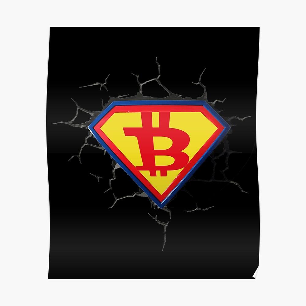 Weinlese-Bitcoin-Logo HODL Superheld-T-Shirt Poster