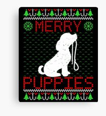 Merry Puppies Ugly Christmas Sweater For Pup Lovers Canvas Print