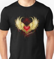 Red Heart with Golden Wings ( Gold Wings ) Unisex T-Shirt
