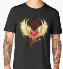 Red Heart with Golden Wings ( Gold Wings ) Men's Premium T-Shirt