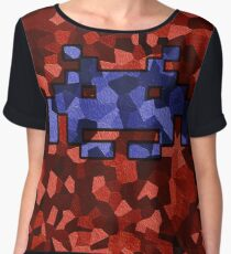 Space Invader Blue  Women's Chiffon Top