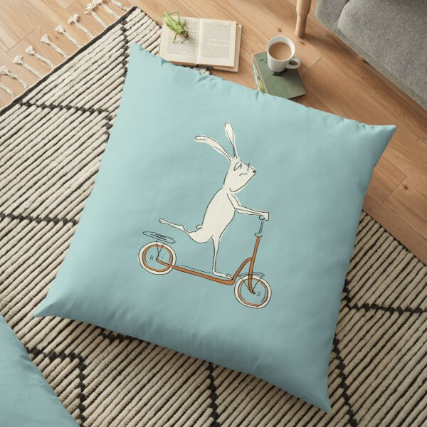 scooter - blue Floor Pillow