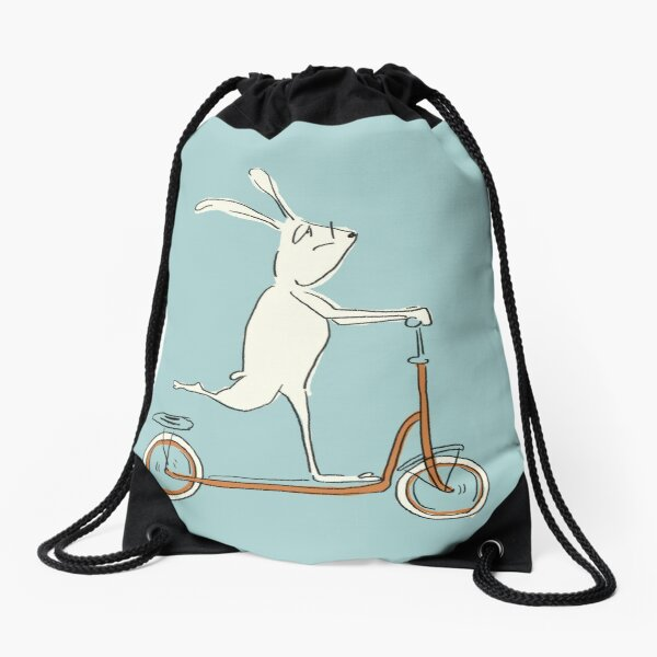 scooter - blue Drawstring Bag
