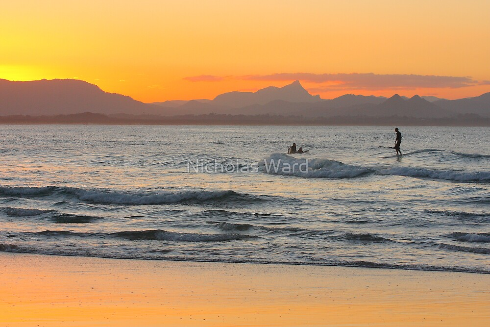 Surfing at Watego's Beach by Nicholas Ward