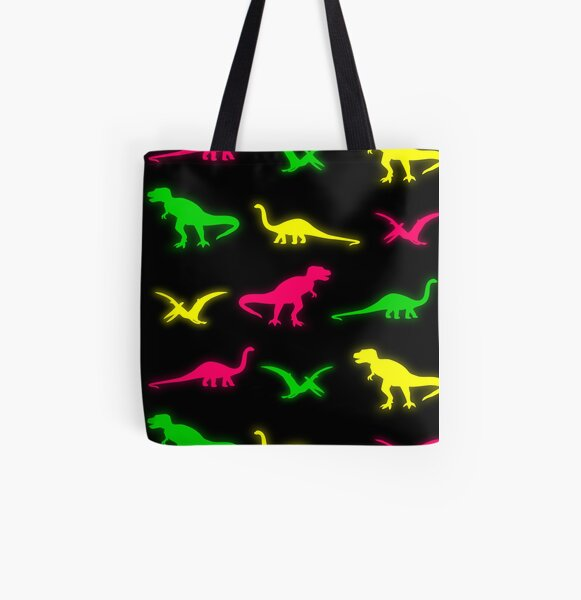 Neon Dinosaurs All Over Print Tote Bag