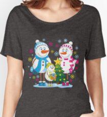 Family snowmen. Christmas. Winter. Women's Relaxed Fit T-Shirt
