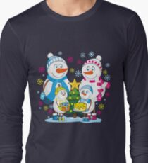 Family snowmen. Christmas. Winter. Long Sleeve T-Shirt